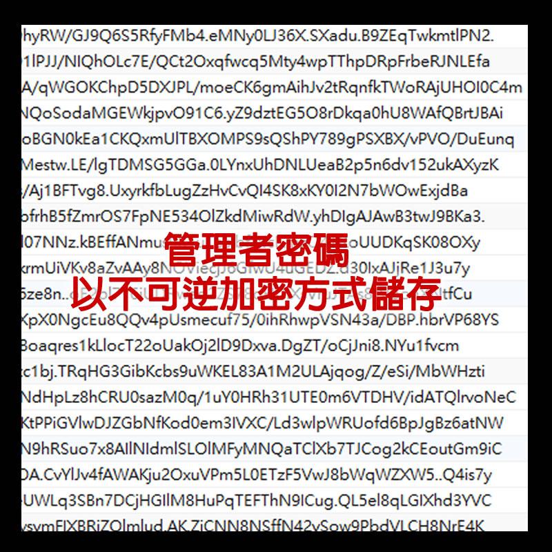 管理者密碼以不可逆加密方式儲存